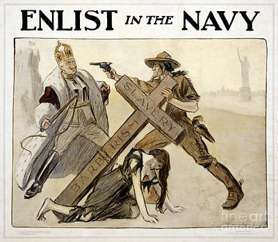 United States Propaganda Drawing - Enlist In The Navy Vintage Wwi Poster Restored by Carsten Reisinger