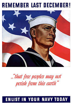 Us Flag Mixed Media - Enlist In Your Navy Today - Ww2 by War Is Hell Store