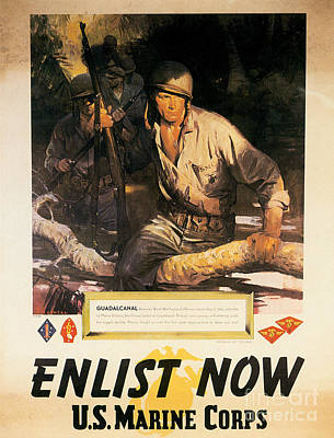 Painting - Enlist Now Us Marine Corps 1942 Poster by R Muirhead Art