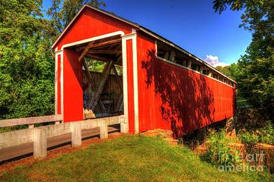 Franklin Township Photograph - Stockheughter Covered Bridge by Paul Lindner