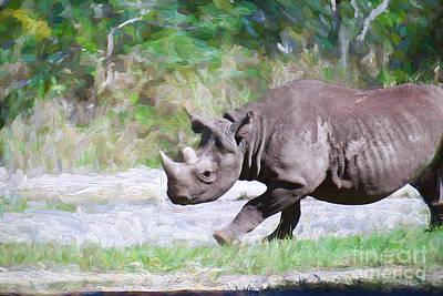 Painting - Enraged Rhino by Judy Kay