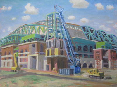 Minute Maid Park Painting - Enron Park Construntion by Texas Tim Webb