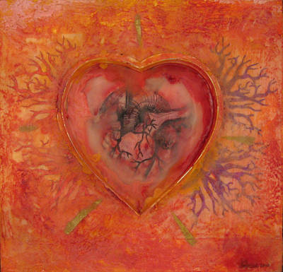 Painting - Enshrine - Outward Heart by Janelle Schneider