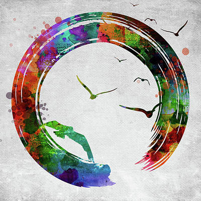 Digital Art - Enso Circle With Birds by Mihaela Pater