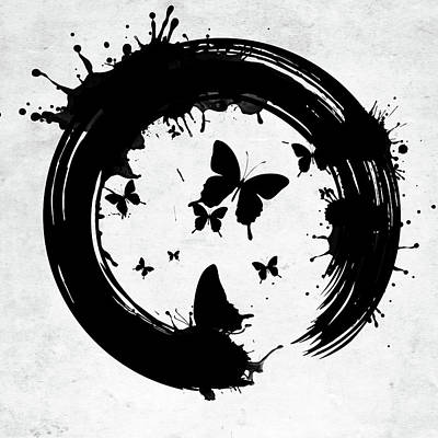 Digital Art - Enso Circle With Butterflies And Splashes Bw by Mihaela Pater
