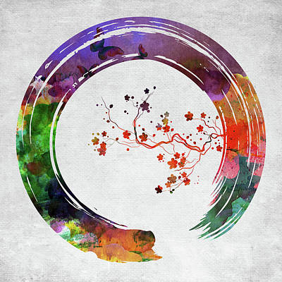Digital Art - Enso Circle With Cherry Flowers by Mihaela Pater