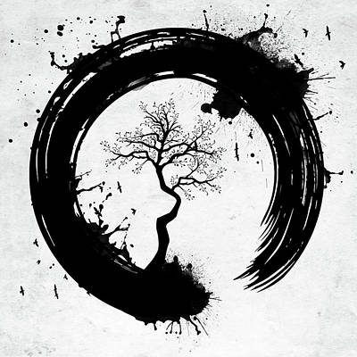 Digital Art - Enso Circle With Tree Bw Splashes by Mihaela Pater