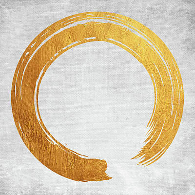 Digital Art - Enso Golden Symbol by Mihaela Pater