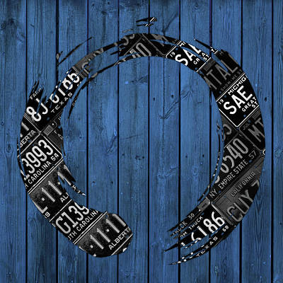 Signed Mixed Media - Enso Sign Made From Black Vintage Metal License Plates On Blue Wood Planks by Design Turnpike