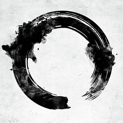 Digital Art - Enso Symbol Circle Bw by Mihaela Pater