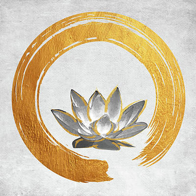 Digital Art - Enso Symbol With Lotus Flower by Mihaela Pater