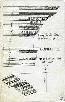 Drawing - Entablature From The Church Of Saint Bibiana by Master PS