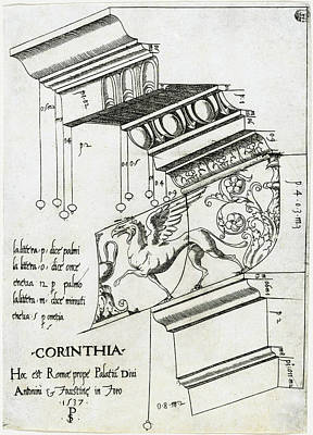 Drawing - Entablature From The Temple Of Antoninus And Faustina by Master PS