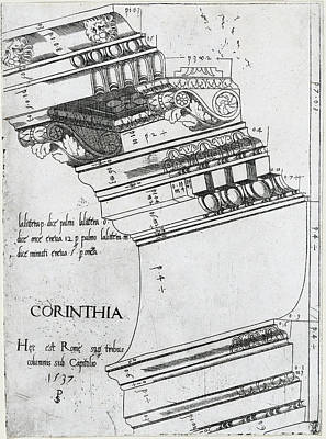Drawing - Entablature From The Temple Of Vespasian, Rome by Master PS