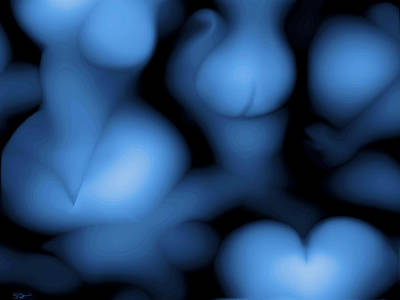 Woman Daydreaming Digital Art - Entangled In Blue by Abstract Angel Artist Stephen K