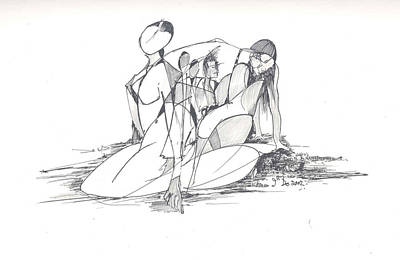 Entangled Women Art Print by Padamvir Singh