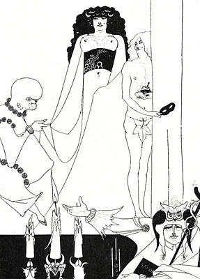 Pen And Ink Drawing Drawing - Enter Herodias by Aubrey Beardsley