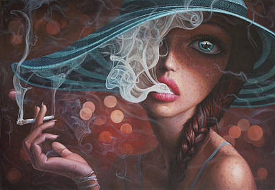 Big Eyed Girl Painting - Enter The Void by Adrian Borda