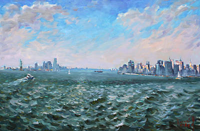 Ny Painting - Entering In New York Harbor by Ylli Haruni