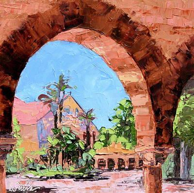 Stanford University Painting - Entering Stanford by Leslie Saeta