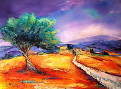 Landmarks Painting Royalty Free Images - Entering the Village Royalty-Free Image by Elise Palmigiani