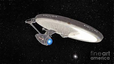 Klingon Wall Art - Digital Art - Enterprise Leaving Sol  by Robert Radmore