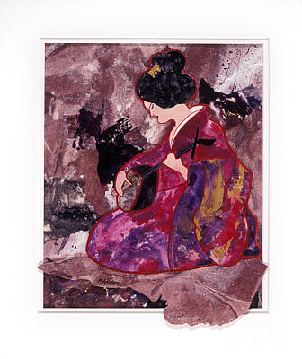 Spontaneous Mixed Media - Entertainer A Collage Of An Oriental Woman Playing A Lute by Phil Albone