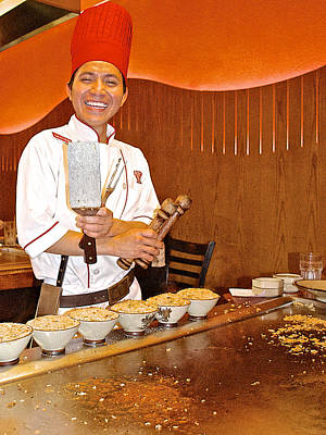 Entertaining Chef At Benihana In Monterey-california Art Print