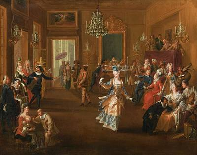 Claude Painting - Entertainment by Claude Gillot