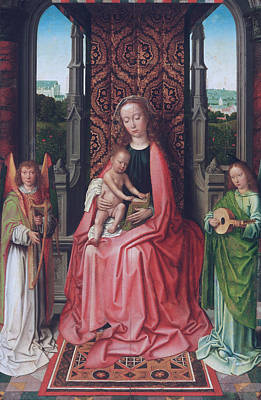Child Jesus Painting - Enthroned Virgin And Child, With Angels by Gerard David