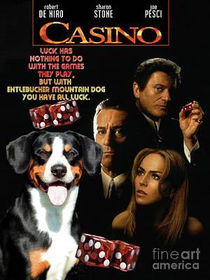 Painting - Entlebucher Sennenhund  - Entelbuch Mountain Dog -  Casino Movie Poster by Sandra Sij