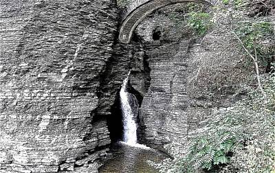 Photograph - Entrance Cascade At Watkins Glen State Park In New York With Ink Sketch Effect by Rose Santuci-Sofranko