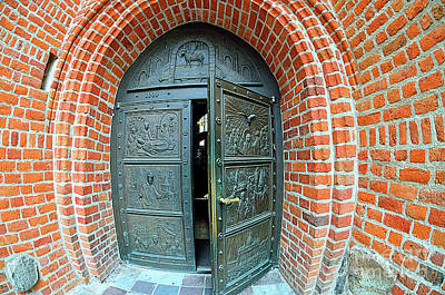 Entrance Door To The Cathedral Church In Bydgoszcz, Poland  Original