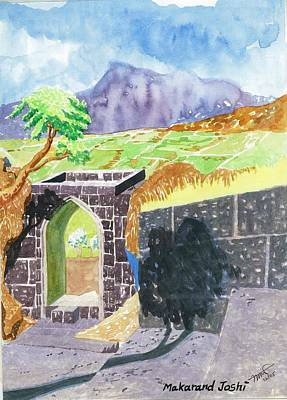 Maharashtra Painting - Entrance Of A Mountain Fort by Makarand Joshi