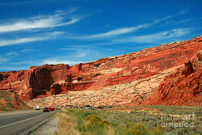 Colorful Cloud Formations Painting - Entrance To Arches National Park by Corey Ford