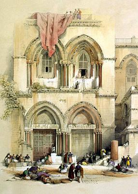 Sepulchre Digital Art - Entrance To Church Of The Holy Sepulchre Card by Munir Alawi