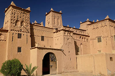Palm Trees Photograph - Entrance To The Ancient Heritage Site Kasbah Amerhidl In The Sko by Reimar Gaertner