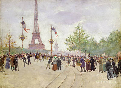Crowd Scene Painting - Entrance To The Exposition Universelle by Jean Beraud