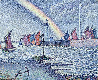 Pointillist Painting - Entrance To The Port Of Honfleur by Paul Signac