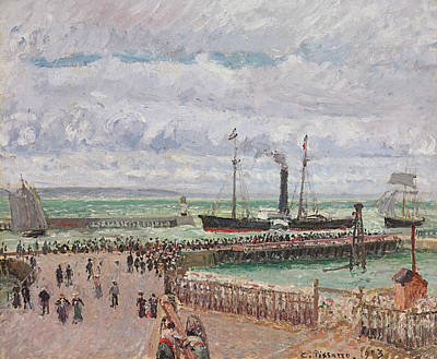 Entrance To The Port Of Le Havre And The West Breakwaters Art Print by Camille Pissarro