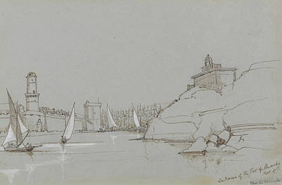 Drawing - Entrance To The Port Of Marseilles by Edward Lear