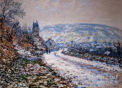 Shark Art - Entrance to the Village of Vetheuil in Winter by Monet by Claude Monet