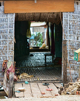 Entrance To Tonle Sap Home  Art Print by Chuck Kuhn