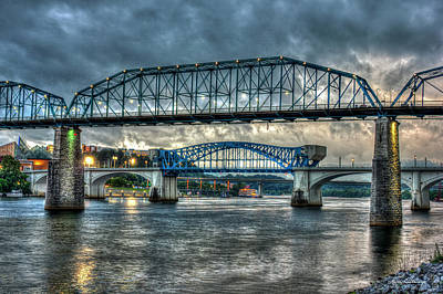 Photograph - Entrapped Chief John Ross Bridge Stormy Sunset Art by Reid Callaway