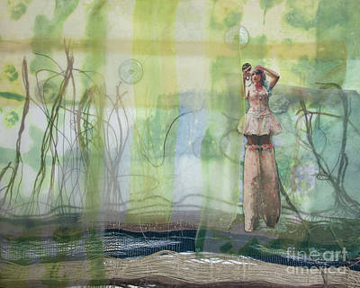 Fabric Collage Painting - Environment by Cathy Jacobs