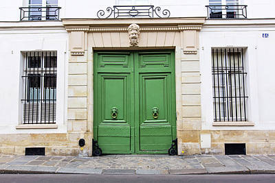 Photograph - Envy - Green Paris Door Photography by Melanie Alexandra Price