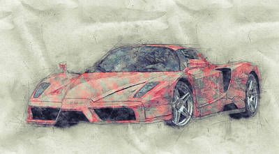 Mixed Media Royalty Free Images - Enzo Ferrari 1 - Spors Car - 2002 - Automotive Art - Car Posters Royalty-Free Image by Studio Grafiikka