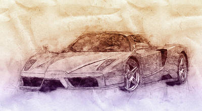 Mixed Media Royalty Free Images - Enzo Ferrari 2 - Spors Car - 2002 - Automotive Art - Car Posters Royalty-Free Image by Studio Grafiikka