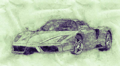 Royalty-Free and Rights-Managed Images - Enzo Ferrari 3 - Spors Car - 2002 - Automotive Art - Car Posters by Studio Grafiikka