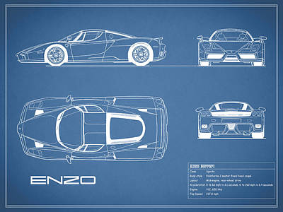 Photograph - Enzo Ferrari Blueprint by Mark Rogan